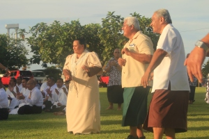 Two of my biggest supporters in my research of Samoan music: Epenesa and Rev. Popo Su'a (Penisiona)
